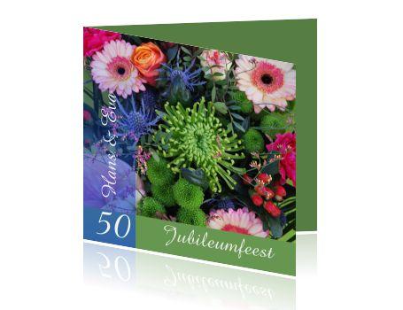 Uitnodiging 50 jubileumfeest met prachtige bloemen en groen