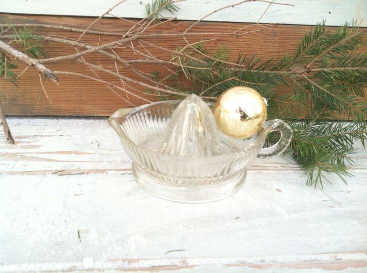 Antique Clear Glass Orange, Lemon or Lime Juicer - Vintage Kitchen Tool by happydayantiques on Etsy