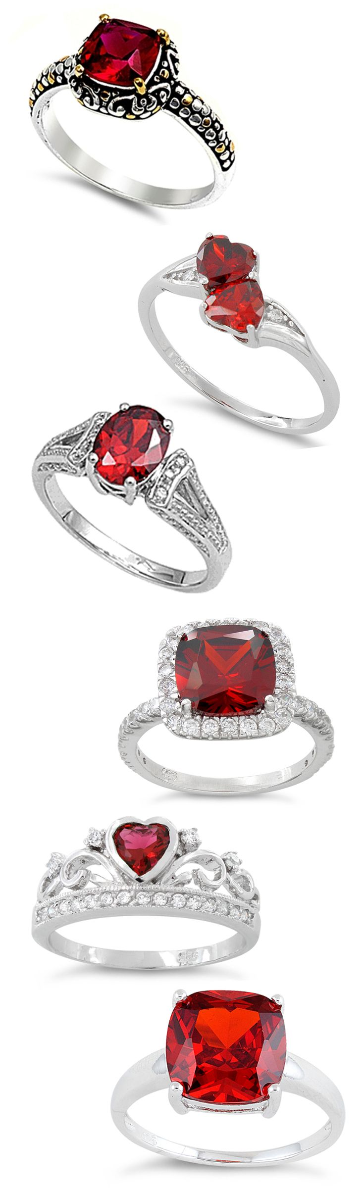 Sterling Silver Red Garnet CZ Rings