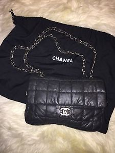 "Chanel Quilted Black Canvas ""Millennium"" Medium Flap BAG Authentic 