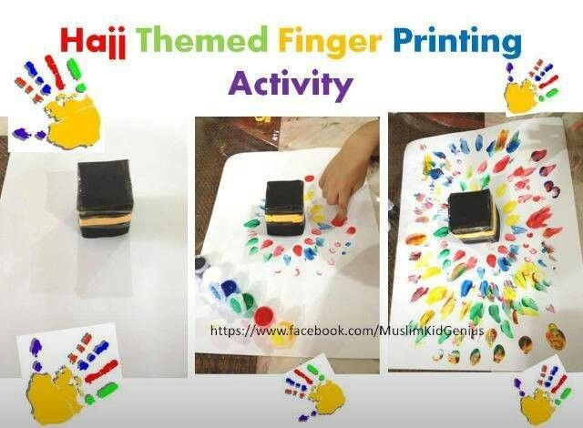 Hajj Activity Kids' Idea. Fingerprinting around the Kaabah to symbolise the action of tawaf. The different colours also symbolise that everyone in this world is the same, whatever the skin colour or background it. Diverse colourful background, but same origin.
