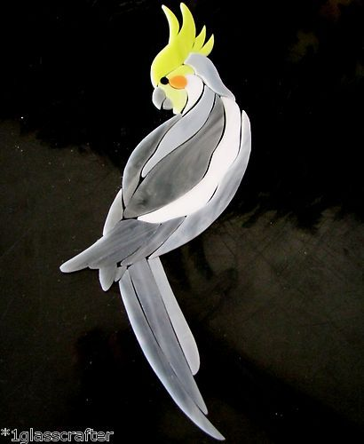 COCKATIEL BIRD STAINED GLASS MOSAIC INLAY KIT. MANY DESIGNS SELLING ON EBAY.