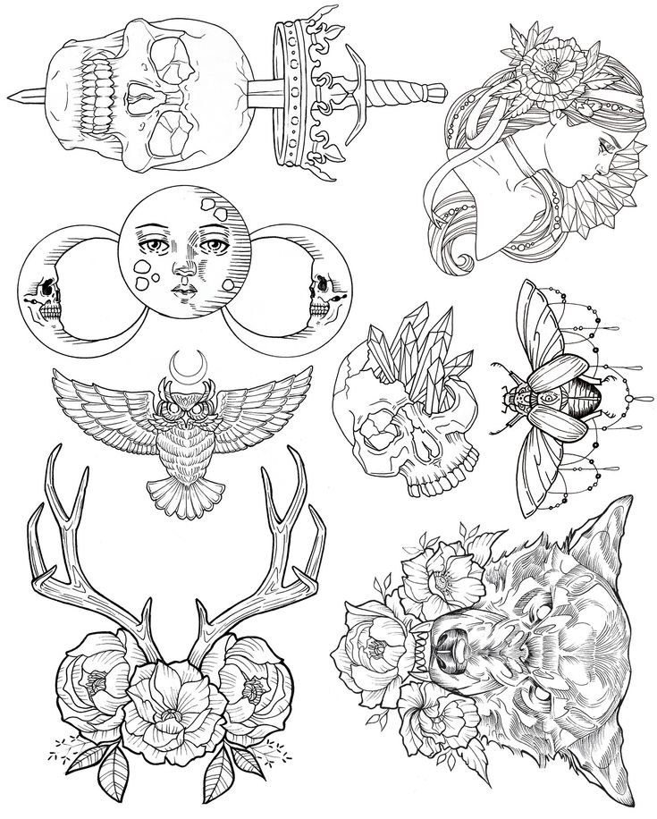 Wendy Ortiz's Tattoo Flash - First Edition release is here! Inspired by traditional americana and infused with some of Wendy's recurring lunar, lupine, feminine