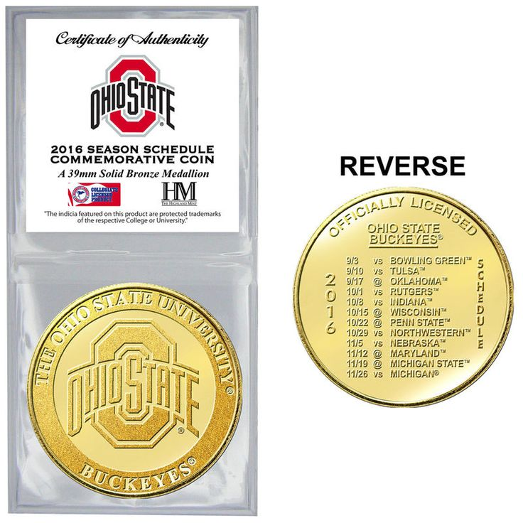 Ohio State Buckeyes Highland Mint 2016 Schedule Collector Coin