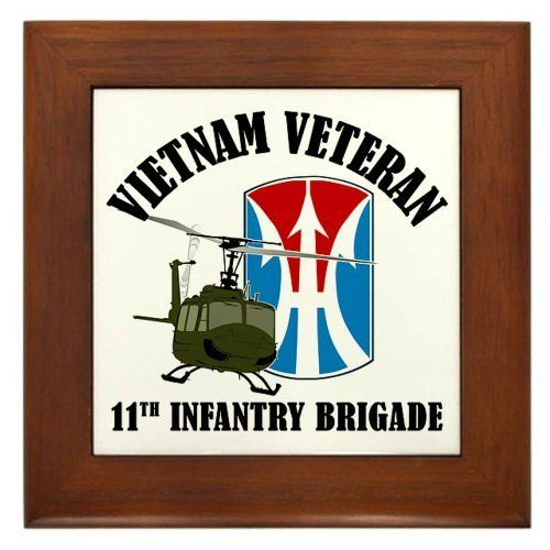 "11th Inf Bde Framed Tile by CafePress by CafePress. $15.00. Quality construction frame constructed of stained Cherrywood. Two holes for wall mounting. Rounded edges. 100% satisfaction guarantee return policy. Frame measures 6"" X 6"" x 0.5"" with 4.25"" X 4.25"" tile. Design features the 11th Light Infantry Brigade patch for the Jungle Warriors, Vietnam Veterans, available on long or short sleeve t-shirts, sweatshirts, hoodies, mugs, and stickers. Visit our store"