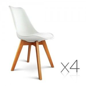4 X Replica Eames Eiffel DSW Dining Chairs For Home Cafe Kitchen In Beech  White