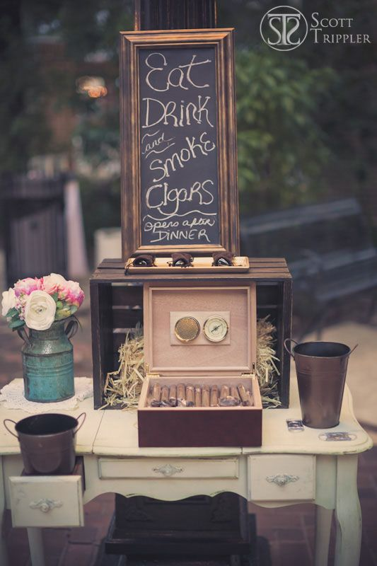 how to set up a cigar bar at wedding