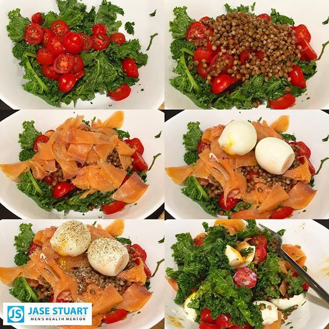 """""""EASY NIGHT"""" DINNERS... ✅  From top left to bottom right: 1. Toss raw kale, coriander and cherry tomatoes with extra virgin olive oil; 2. Top with brown lentils; 3. Add some smoked salmon; 4. Top with 2x soft boiled eggs; 5. Add a massive crack of pepper; 6. Toss, hard son! 👈😀😜 And then get it down! Loaded, absolutely loaded with protein, healthy heart fats and vitamins! The perfect easy night meal! 👏👏 #health #fitness #fit #jasestuart #jasestuartmenshealthmentor #kale #tomato #workout…"""