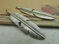 10 adet antika gümüş tüy cazibe kolye jewlery bulgular