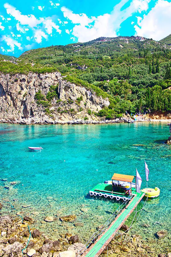✯ Sea Bay - Paleokastritsa, Corfu island, Greece diving into that water......mmmm and the big curved green lounger is all my style..