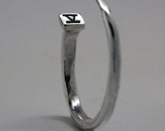 Silver Nail Bracelet, Silver Nail Cuff, Blue Bayer Design NYC