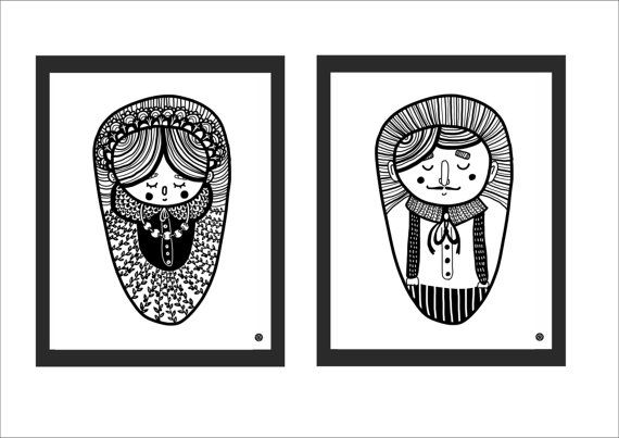 Set of graphics Mrs&Mr  posters Couple by MalinoweCacko on Etsy