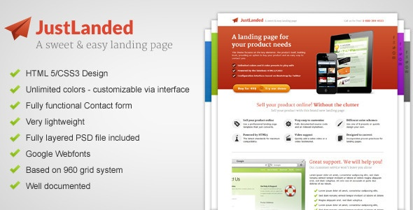 JustLanded - Landinge Page - ThemeForest Item for Sale