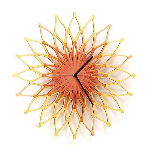 Fireworks II - Large Stylish Wooden Wall Clock, Sunburst Clock. This clock is our answer to 'sunburst' clocks - it depicts a firework squib after explosion as it exposes its sparkling colors on the dark sky. The dial itself is composed of 4 x 20 wooden pieces (=flames) that stick in between each other. - Raw material: all elements are made of 6mm birch plywood. - Manufacturing process: the central disk and the 'petals' are laser cut from the plywood board, after polishing the elements are...