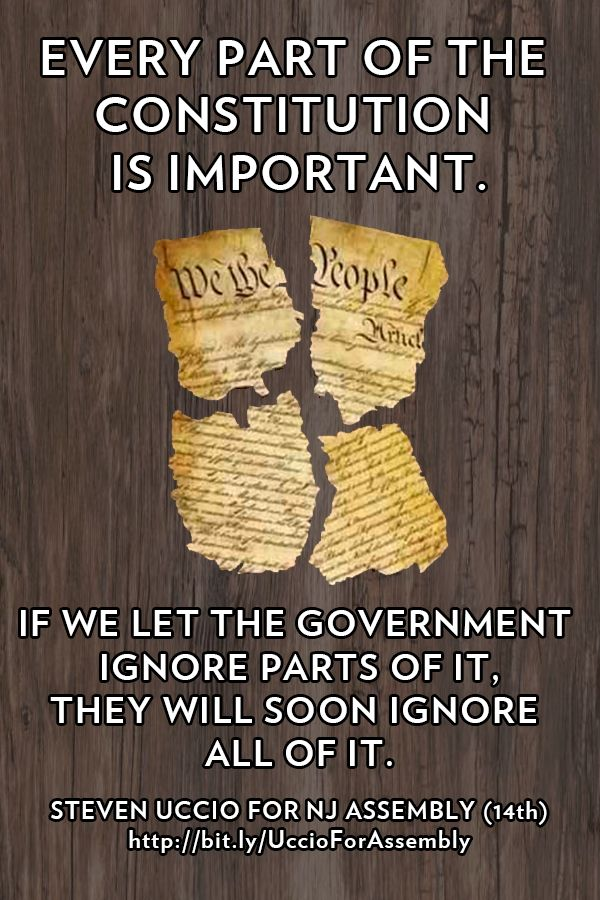"""""""Every part of the Constitution is important. If we let the Government ignore parts of it, they will soon ignore all of it."""" - Steven Uccio"""
