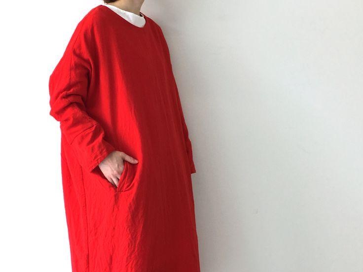 red wool dress, new this season @ #caseycaseyshop (also comes in Ivory)  (photo by #veritecoeurshop) #caseycasey #6ruedesolferino75007paris