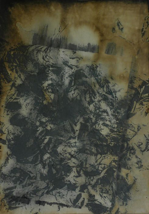 This is number two in a series of mixed media works done on paper. It has a dark, distressed post apocalyptic feel.