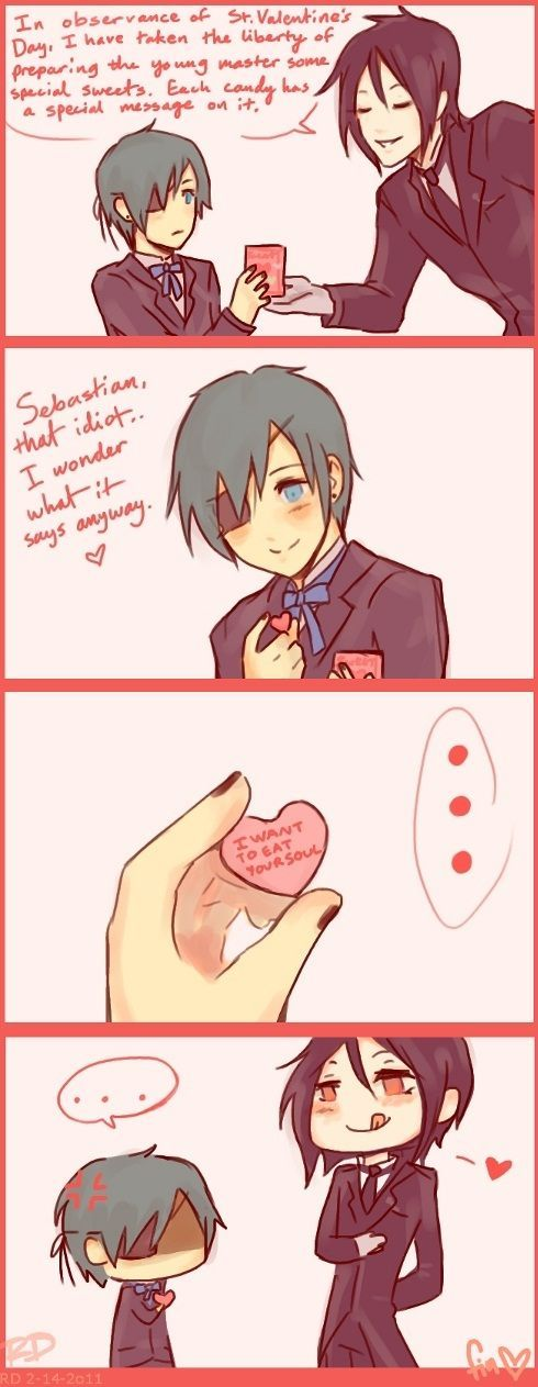 Black Butler (Kuroshitsuji) ~ Sebastian and Ciel -- Valentine's Day comic strip