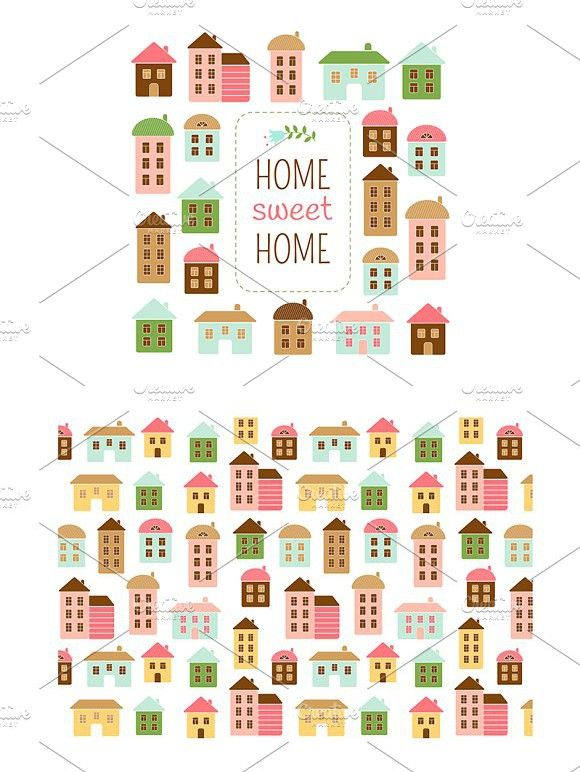 Home sweet home vector set. Patterns