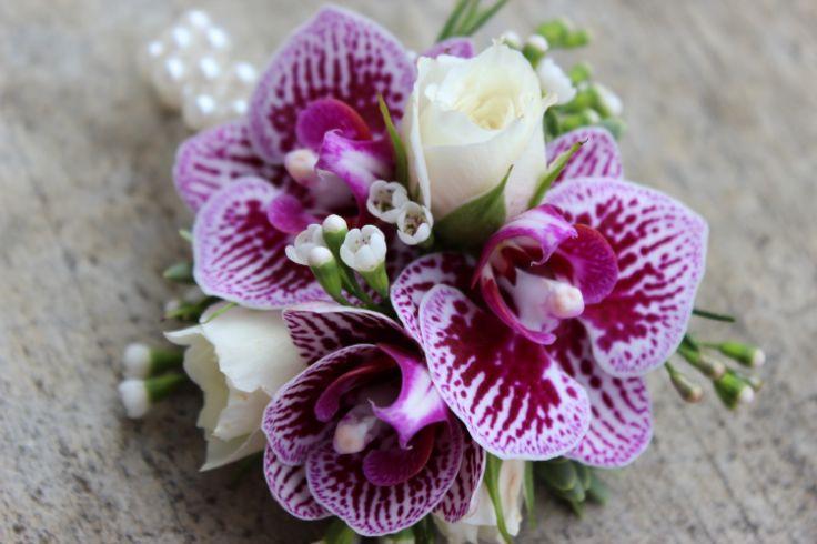 Sophisticated Floral portland oregon wedding florist  purple corsage boutonniere  mini purple phalaenopsis orchids, spray roses