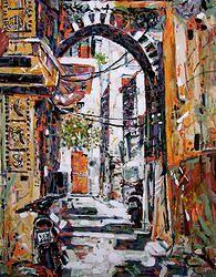 """Pirigi, Chios, Greece 24"""" x 30"""" Alkyd on canvas by artist, Laron McGinn"""