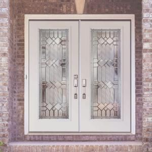 Feather river doors mission pointe zinc full lite primed for Home double entry doors