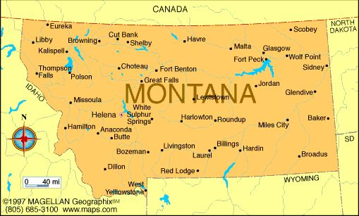Map of Montana was the 41st state to join the union and became a state on November 8, 1889. The capital is Helena.