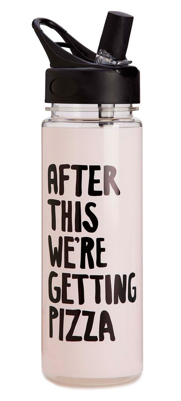"In love with this water bottle that says, ""After this we're getting pizza."" It perfectly describes the true motivation for working out."