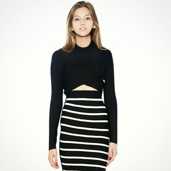 Crop Top Set - Stretch Black Crop Top and Striped Skirt Set