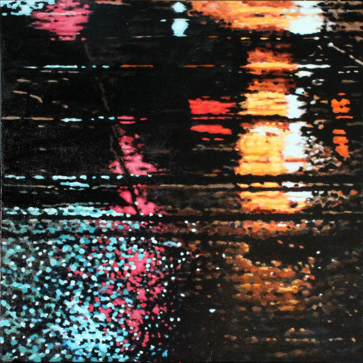 """Parallels VII - oil on canvas, 24 x 24"""" (60 x 60 cm) - rainy streets at night with streetcar tracks"""