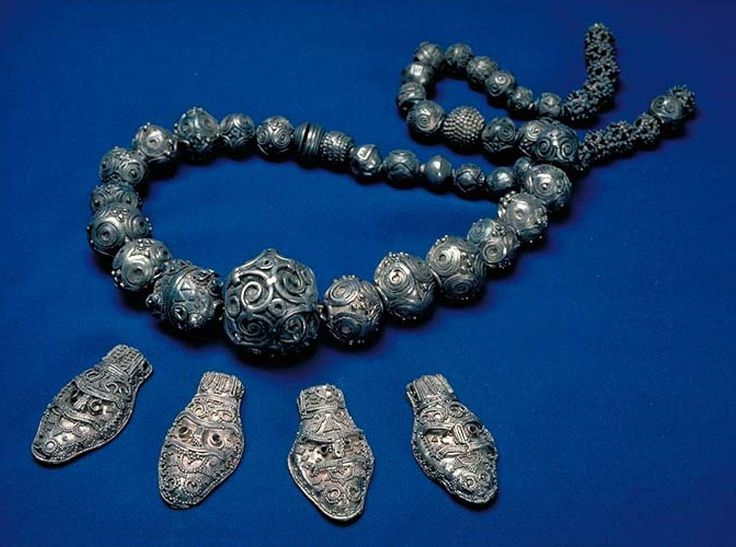 Viking silver beads necklace found on the island of Gotland, Sweden.