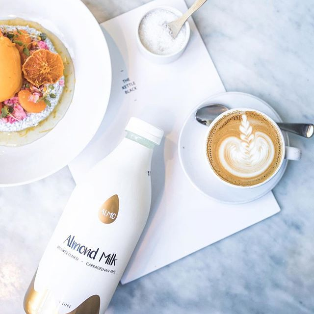 In case you're wondering, YES - #almomilk tastes as good as it looks 😉 Ask our stockist @kettleblackcafe for #almomilk in your coffee this morning! #betterwithalmo