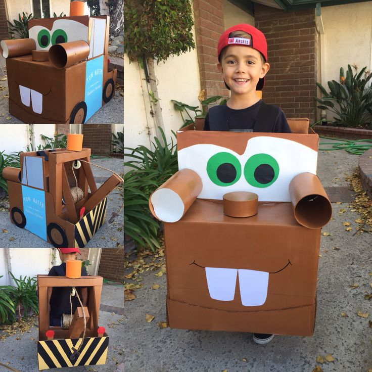 Tow Mater My sons Halloween DIY costume was made from a med cardboard box, spray paint w/primer, tape and lots of hot glue. The look on his face was priceless and worth all those late nights and trips to Home Depot and Hobby Lobby!