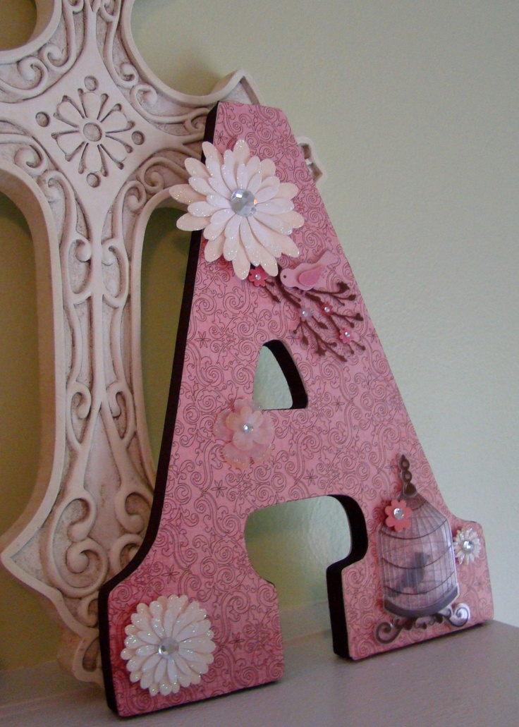 239 best wooden letter ideas images on pinterest decorated covered a wooden letter in scrabooking paper ribbon on the edges and scrapbooking stickers spiritdancerdesigns Images