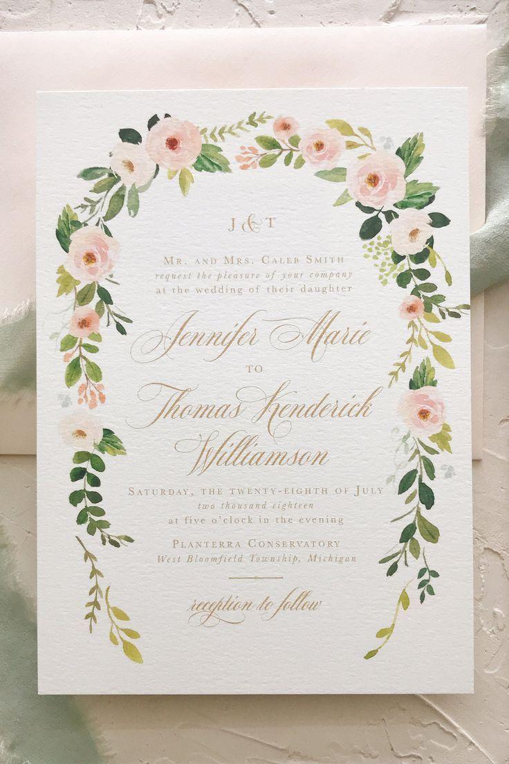 Calligraphy Wedding Invitation Wedding Invite Floral Boho
