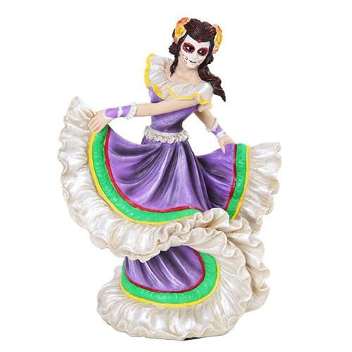 Skeleton Dancer Purple Folklorico Dress Statue Day of the Dead 8H