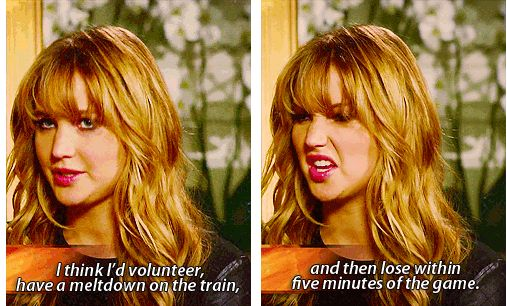 Jennifer talks about how she will volunteer for The Hunger Games, have a meltdown on the train and within five minutes died when the games started ahaha oh Jennifer