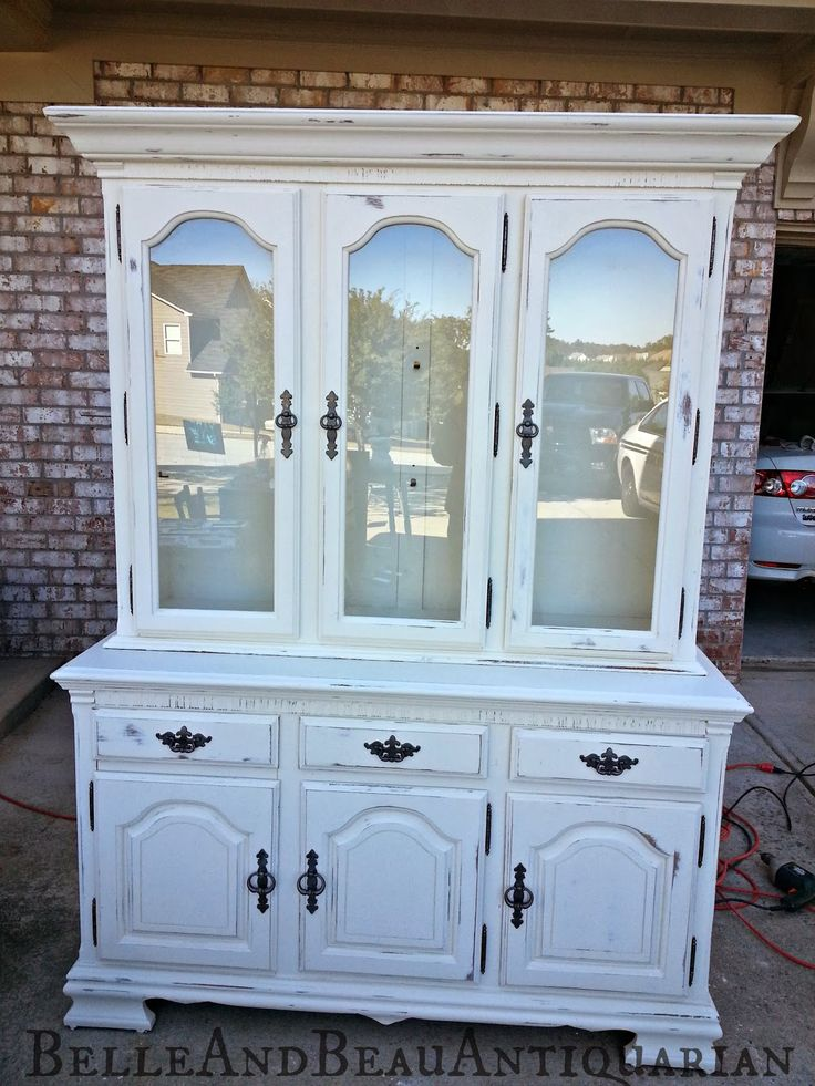 From 90's Oak to a Distressed White, New Finish for a China Cabinet