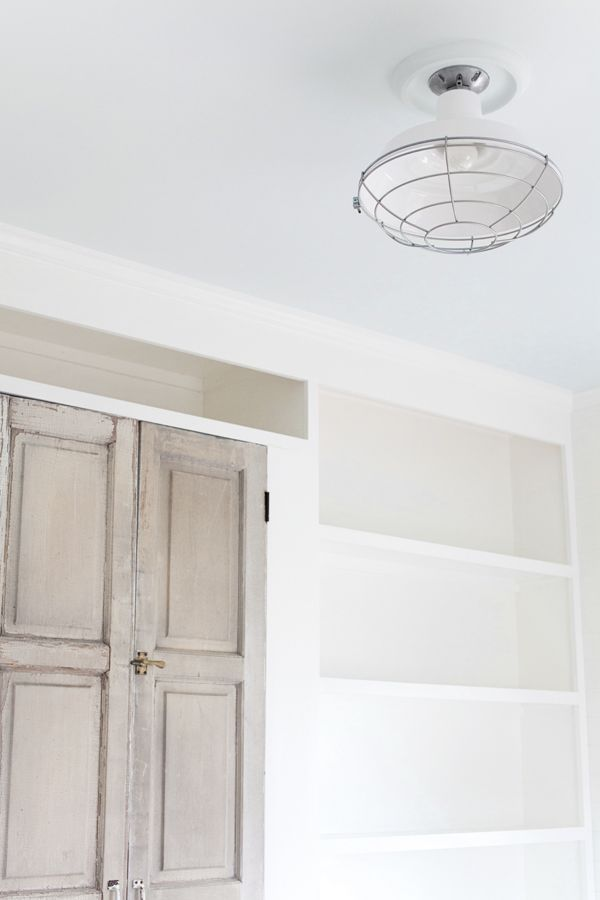 Barnlight Electric bedroom ceiling light fixture.  Ceiling color:   Gray Lake.  Wall color:  Simply White.