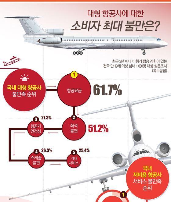 대한항공·아시아나 등 대형 항공사 소비자 최대 불만 '비싼 항공요금' [인포그래픽] | 비주얼다이브비주얼다이브