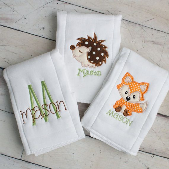 3 Personalized Embroidered Burp Cloths - Woodland Theme Fox Burp Cloth - Monogram Cloth Diapers - Monogrammed Personalized Baby Boy Gift