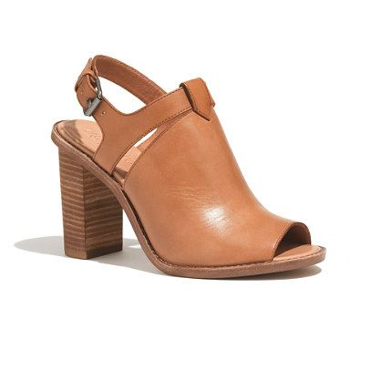 These rugged-meets-refined open-toe heels are the perfect pair to bridge the seasons (or just the temp change between office and outside). Complete with a padded sole and an ultra-walkable stacked heel. Please note: When you select your size below