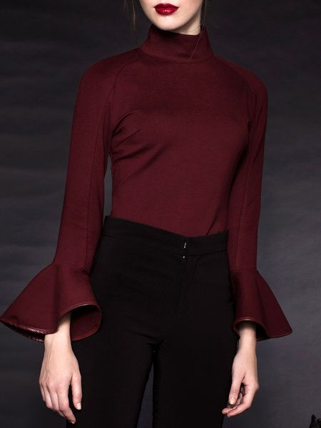 Elegant Turtleneck Cotton-blend Piping Frill Sleeve Top