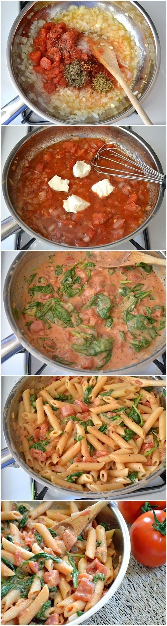 Creamy Tomato And Spinach Pasta. Made this with whole wheat pasta and added some chicken. Yum!