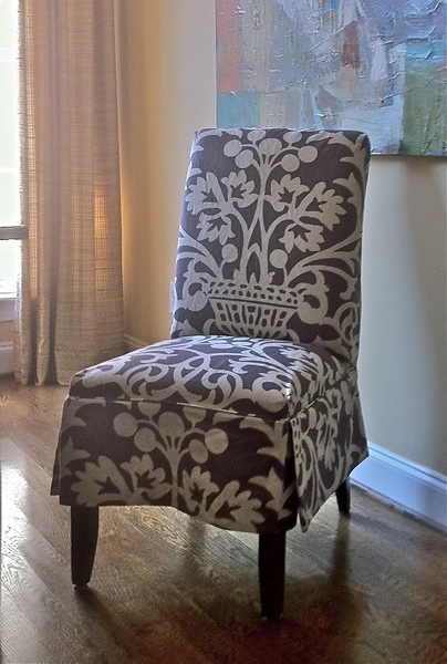 Slipcovered Parson S Chair Using Vervain Plum Fabric