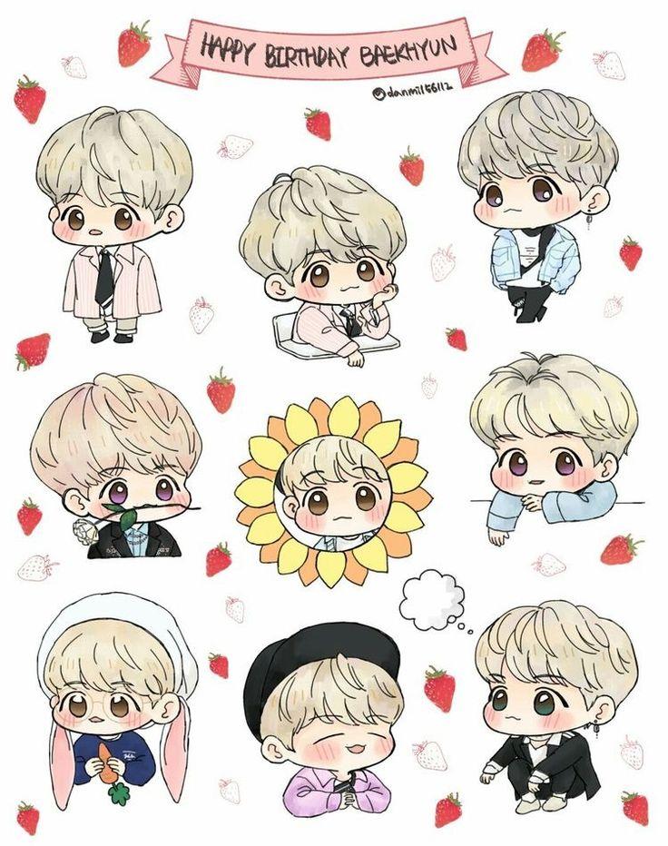 Baekhyun FANART (Dengan gambar) Animasi, Stiker, Kpop