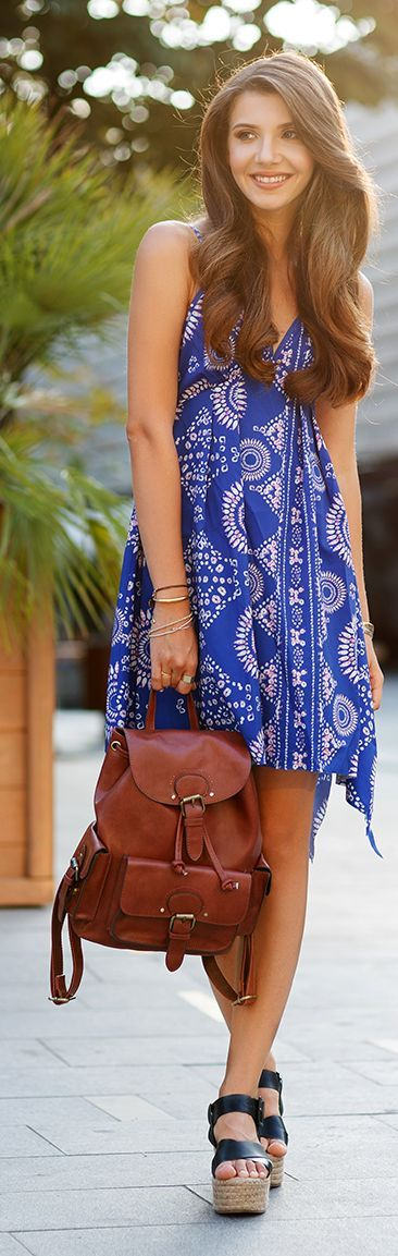 Love this blue print on little Summer dress