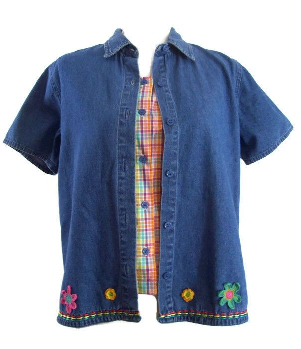 Lemon Grass Womens Denim & Checks Faux 2 Piece Two For One Cute Top Blouse Small #LemonGrass #Blouse #Casual