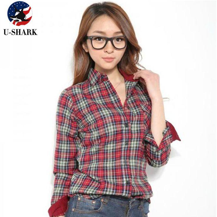 Весна и Осень U SHARK новый женские рубашки хлопок Повседневная женщины блузка с длинным рукавом Клетчатые рубашки женщин купить на AliExpress