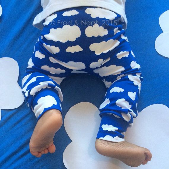 Our Cloud print leggings are handmade in the UK from 95% cotton 5 % elastaine Jersey fabric . They feature an enclosed non roll elasticated waist and